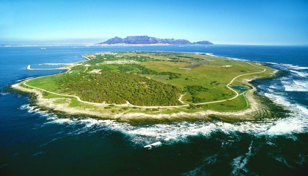 Photographie de Robben Island où Nelson Mandela a été enfermé pendant 27 ans.