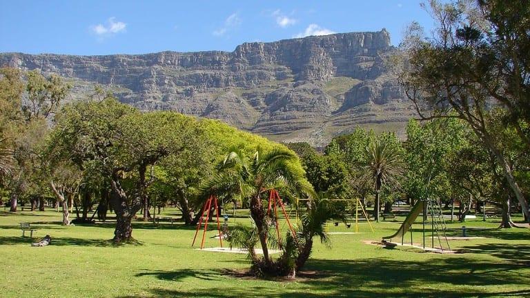 """Le jardin-musée """"Company's Garden"""" au coeur du centre ville de Cape Town, en Afrique du Sud."""