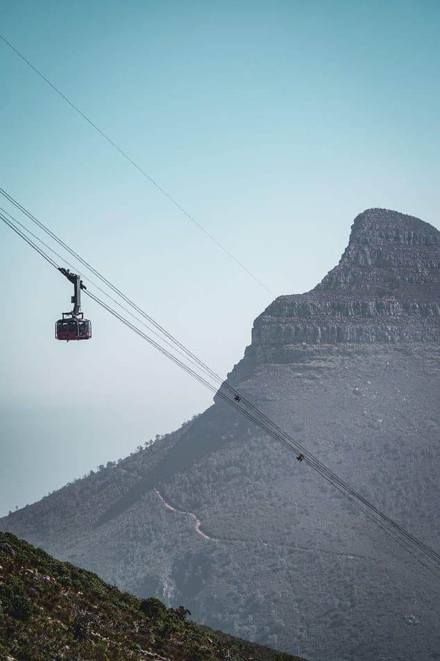 Cable Car avec Lion's Head en arrière plan - Photo de l'article : Table Mountain cable Car ou randonnées