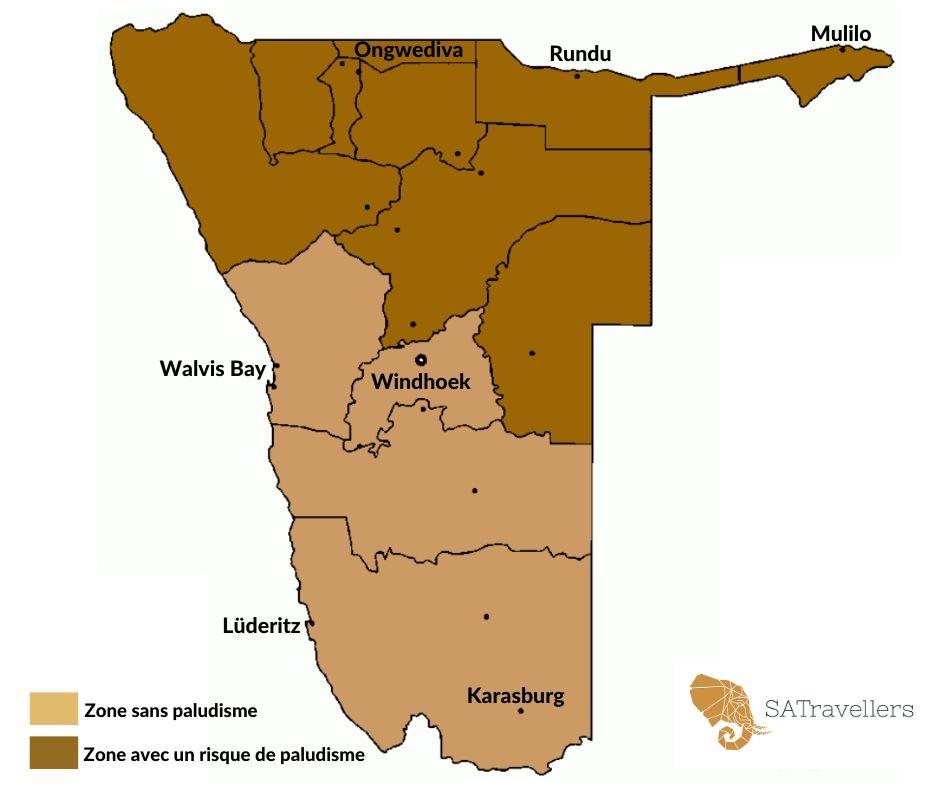 Carte du palu en Namibie